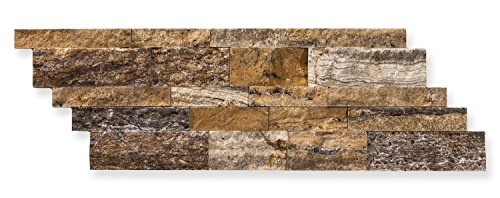 Mystic Travertine 7 X 20 Stacked Ledger Wall Panel Tile, Split-faced (25 PCS.) by Oracle Tile & Stone
