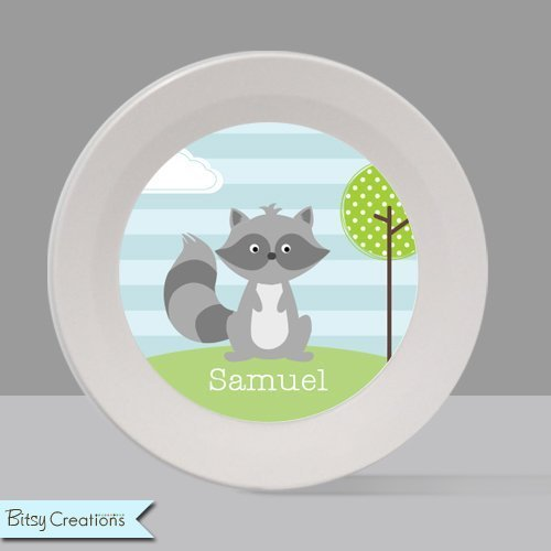 Raccoon Melamine Bowl or Plate Custom Personalized with Childs Name Childs Plate