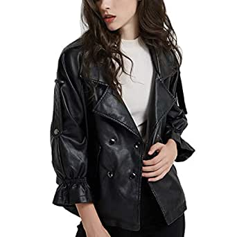DISSA PP1891 Women Faux Leather Cropped Jacket Loose Coat,Black,L,UK 14