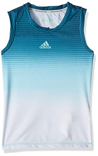 (adidas Girls Parley Tank, Blue Spirit/White, Medium)