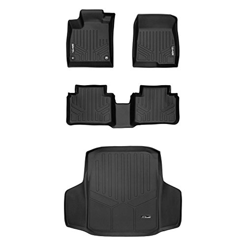 SMARTLINER Floor Mats 2 Rows and Cargo Liner Set Black for Honda Accord Sedan (All Models) (Honda Sport 2018)