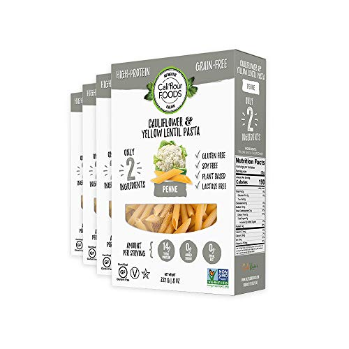 Cali'flour Foods High-Protein, Anti-Inflammatory Penne - Made With Just 2 Ingredients (Cauliflower & Yellow Lentils) - No Added Sugar or Preservatives, Grain Free, Plant-Based, Low-Glycemic (4 Bags) (Best Cauliflower Crust Recipe)