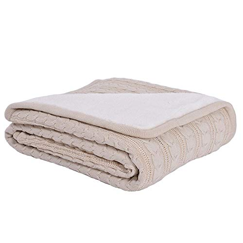 CERYTHRINA Cable Knit Sherpa Throws All Season Sofa Bedding Couch Soft Throw Blanket Kids Indoor Outdoor Warm Quilt Oversized Cover Reversible Blankets Beige ()