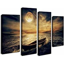 Cao Gen Decor Art-S48638 4 Panels Wall Art Waves Painting on Canvas Stretched Framed Canvas Paintings Ready to Hang Home Decorations Wall Decor