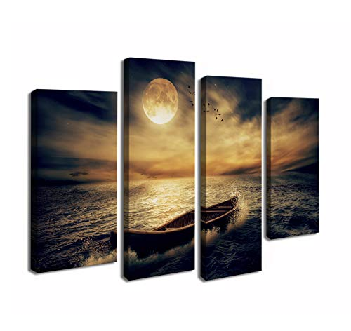 Cao Gen Decor Art-S48638 4 Panels Wall Art Waves Painting on Canvas Stretched and Framed Canvas Paintings Ready to Hang for Home Decorations Wall (Art Chinese Oil Painting)