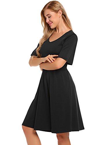 Meaneor Damen Herbst Nachmittagskleid mit elastischer Taille und ...