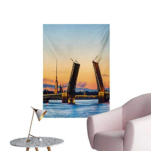 Anzhutwelve Landscape Art Decor Decals Stickers Palace Bridge with Peter and Paul Fortress St Petersburg White Nights RussiaOrange Blue W32 xL36 Poster Paper