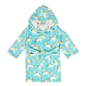 b1b0021b4 bluezoo Kids Girls  Unicorn Print Dressing Gown Age 1-14 Years