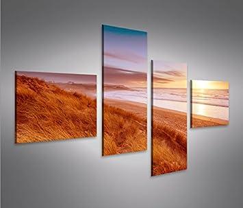 Nordsee Strand 4L 4 Bilder auf Leinwand Wandbild Kunstdruck Bild Poster