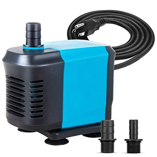 KEDSUM 660GPH Submersible Pump(3000L/H,55W), Ultra Quiet Water Pump with 6ft High Lift, Fountain Pump with 4.2ft Power Cord, 3 Nozzles for Fish Tank, Aquarium, Statuary, Hydroponics