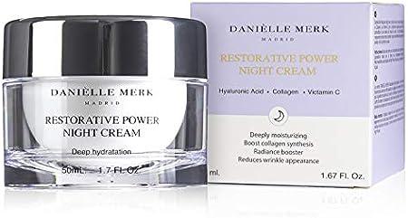 DANIÈLLE MERK - Restorative Power Night Cream - Crema con Colágeno, Ácido Hialurónico y Vitamina C - Tratamiento Antienvejecimiento y Antiarrugas - Reparación Piel y Arrugas para Cara y Piel - 50 ml
