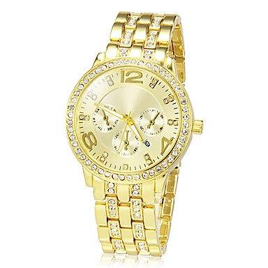 M.M.Women's Golden Round Dial Alloy Band Quartz Analog Wrist Watch