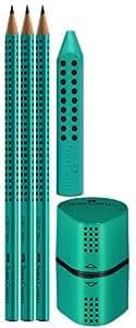 Faber-Castell Grip 2001 Set - Blíster con 3 ecolápices, afila trío y goma, sin PVC, color azul