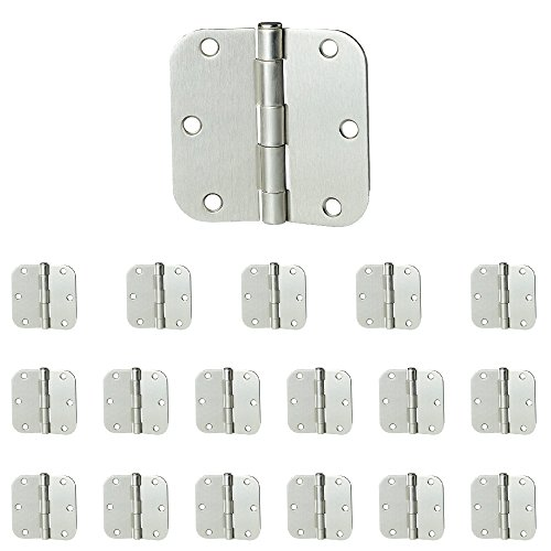 "18 Pack of Door Hinges Satin Nickel - 3 ½"" x 3 ½"" Inch Interior Hinges for Doors Brushed Nickel with 5/8"