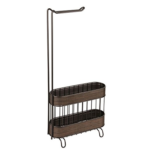 interDesign Twillo Free Standing Metal Toilet Paper Holder and Magazine Rack for Master, Guest, Kids' Bathroom 4.30 x 10.40 x 23.90 Bronze