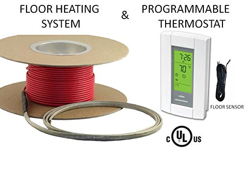 50 Sqft Cable Set, Electric Radiant Floor Heat Heating System with Aube Digital Floor Sensing Thermostat - Electric Radiant Floor Heat