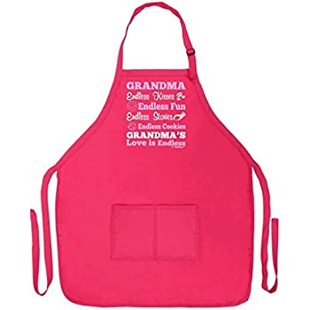 Mother's Day Gift Grandma's Love is Endless Funny Apron for Kitchen BBQ Barbecue Cooking Baking Crafting Gardening Two Pocket Apron for Grandma or Mom Apron Heliconia