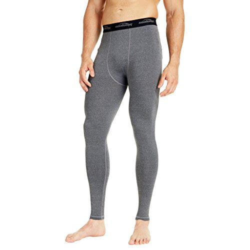 COOLOMG Compression Pants Running Tights Length Pants Leggings Quick Dry For Men Youth Boy Gray L