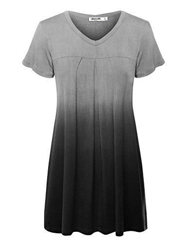 WT1085 Womens Dip Dye V Neck Short Sleeve Pleats Tunic Top XXL BLACK