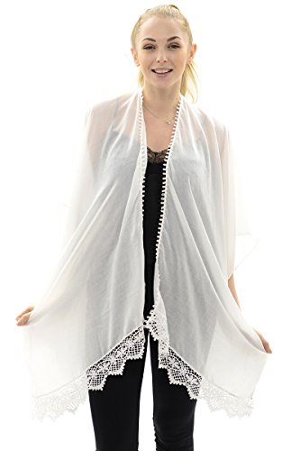 BYOS Womens Soft Sheer Open Front Long Kimono Shawl Warp With Lace Trim In Solid Color (Ivory)