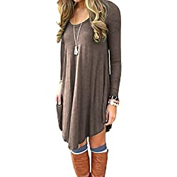 Women's Long Sleeve Casual Loose T-Shirt Dress Brown L