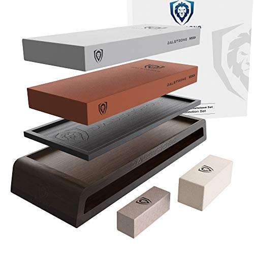 - DALSTRONG Whetstone Kit - EXTRA LARGE #1000 Grit, 6000 Grit Stones - Nagura Stone & Rust Eraser - Stand Included