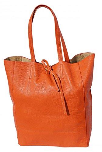 SUPERFLYBAGS Borsa Donna Shopper a Spalla In Vera Pelle modello Elba Made In Italy Arancione