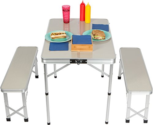 35.4'' Portable Aluminum Folding Suitcase Picnic Table with 2,  33.8'' Folding Bench Seats By Trademark Innovations by Trademark Innovations