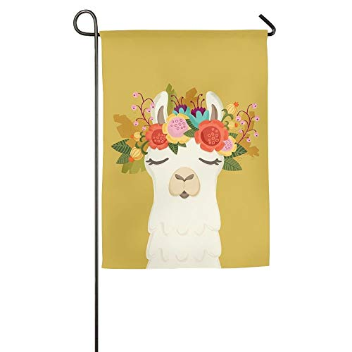 Llama with Garland Floral Garden Yard Flag Banner for Outside House Flower- Best for Party Yard and Home Outdoor Decor -
