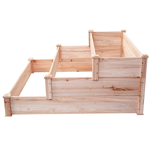 New Wooden Raised Vegetable Garden Bed 3 Tier Elevated Planter Kit Outdoor Gardening