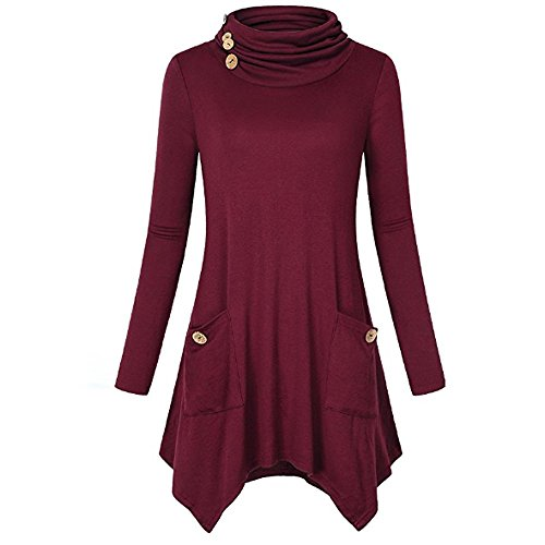 CUCUHAM Women's Turtleneck Long Sleeve Asymmetric Hem Tunic Tops with Pockets(WineRed,X-Large) for $<!--$9.76-->