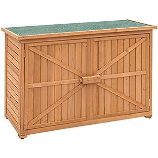 Goplus Wooden Garden Shed Outdoor Storage Cabinet Fir Wood Double Door Yard Locker (Natural)