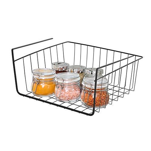 Smart Design Undershelf Storage Basket w/Snug Fit Arms - Small - Steel Metal Frame - Rust Resistant Finish - Cabinet, Pantry, Shelf Organization - Kitchen (12 x 5.5 Inch) [Black]