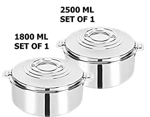 King International Stainless Steel Food Storage Containers, Storage Box,Food Storage Containers, Storage Box,Keep Warm,Cold Upto 4-6 Hours, Full Stainless Steel,Casserole Set of 2
