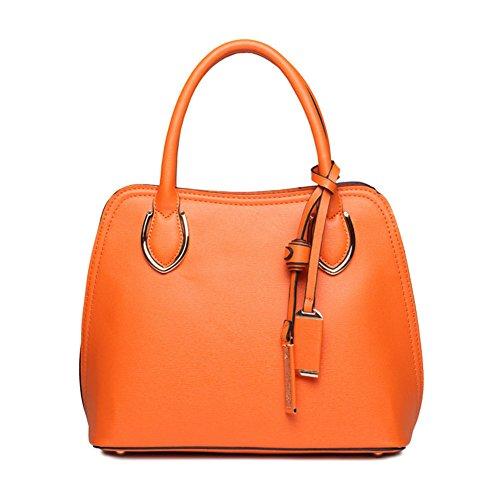 New Qckj Fashion Cross Body One Shoulder Bag Donna Shell Pu Borsa Arancione