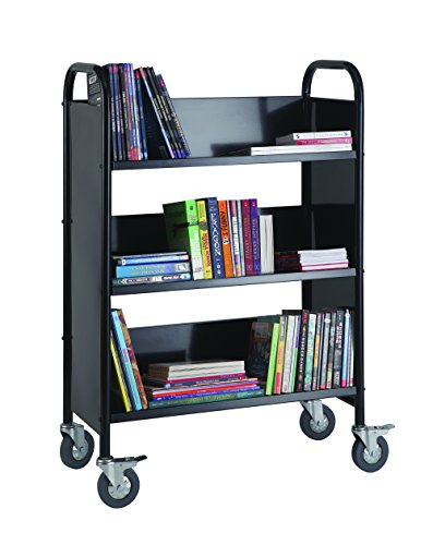Heavy Duty 3-Shelf Narrow Book Truck Metal Utility Cart School Supply - Black by Guidecraft