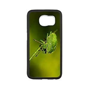 Vinceryshop Green Samsung Galaxy S6 Cases Green Insect 2 Unique for Guys, Samsung Galaxy S6 Edge Case Beautiful Unique for Guys [White]