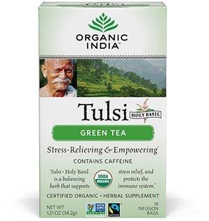 ORGANIC INDIA Tulsi Green Tea, Stress-Relieving, 18 Tea Bags (6 Pack)
