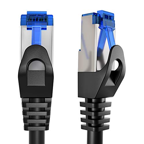 KabelDirekt – 50 feet – Ethernet, Patch & Network Cable (transfers gigabit Internet Speed, Ideal for 1Gbps Networks/LANs, routers, modems, switches, RJ45 Plug (Silver), Black)