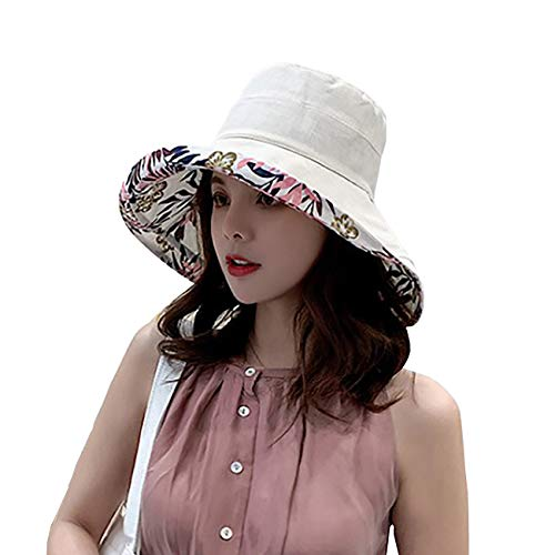 (FaroDor Women Print Floral Reversible Bucket Hat UV Sun Protection Wide Brim Summer Beach Cap)