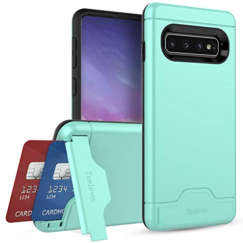 Teelevo Wallet Case for Galaxy S10 - Dual Layer Case with Card Slot Holder and Kickstand for Samsung Galaxy S10 (2019) - Mint Green