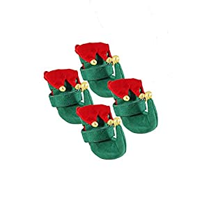 Elf Dog Shoes by Midlee (Small, Pack of 4)