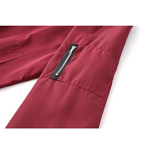 Lunga Vento Sottile A Capispalla Da Bomber Casual Basic Giacche Red Giacca Donna Giubbotto Manica Auspiciousi Cappotti awXBqn