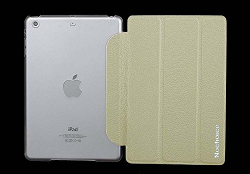 Nochoice Leather Case for iPad Mini 3 100% Gunuine Leather for Apple iPadmini 2 Retina Smart Cover [Ultra Slim] with Flip Stand and Automatically Wake & Sleep [ Color Beige ]