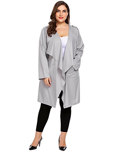 (IN'VOLAND Womens Plus Size Cut Hem Waterfall Collar Long Sleeve Wrap Trench Coat Cardigan)