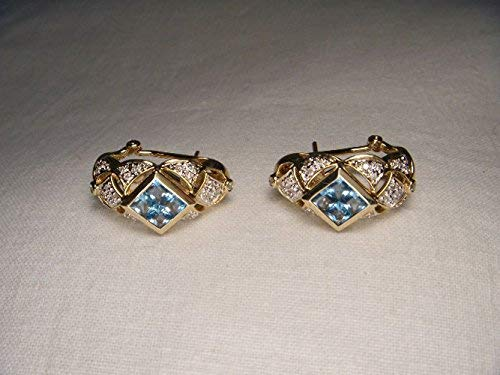 (Gorgeous Estate 14K Yellow Gold Blue Topaz Diamond Filigree Huggie Earrings)