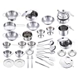 Children Toys Stainless Steel Pots And Pans Baby Play House Toy Boy And Girl Pretend Play Kitchen Set For Kids