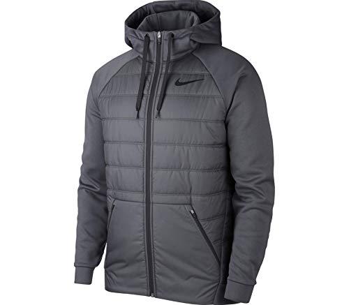 (Nike Mens Therma Full Zip Winterized Training Hooded Jacket Anthracite/Black AO1440-060-Size Large)