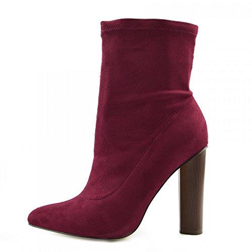 Kick Footwear Damen Block Heels Womens Mid Calf Militär Print Wildleder Stretch Lycra Stiefel - Uk 6/eu 39, Black Lycra