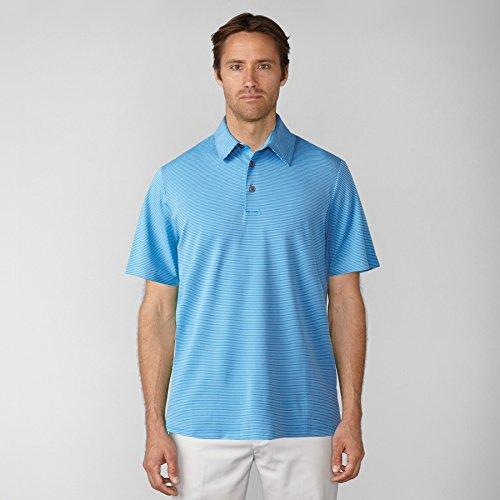 Ashworth Men's 2017 Matte Interlock Mini Stripe Polo, Marquis Blue, (Interlock Golf Shirt)